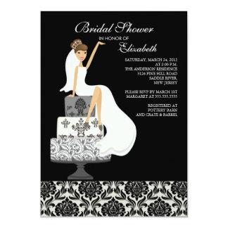 Damask Brunette Bride Bridal Shower Invitation