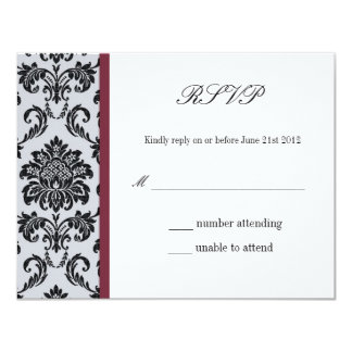 Damask Burgundy Wedding Response Card