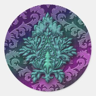 Damask Burnout Velvet, Damask Medallion 2 Round Sticker