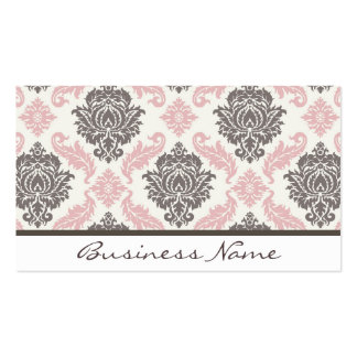 damask Business Card (pink/brown)