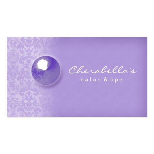 Damask Button Salon Spa business card Purple
