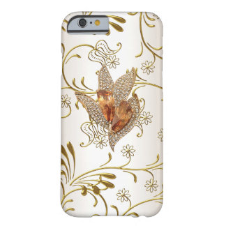 Damask Caramel Cream Beige Gold Amber Barely There iPhone 6 Case