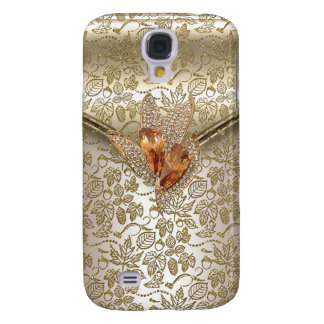 Damask Caramel Cream Beige Gold Amber Samsung Galaxy S4 Case