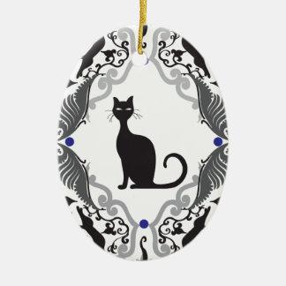 Damask cat ceramic oval decoration