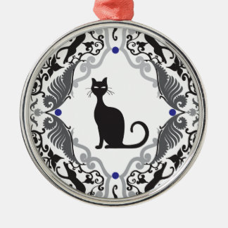 Damask cat Silver-Colored round decoration