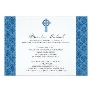 Damask Celtic Cross First Communion 13 Cm X 18 Cm Invitation Card