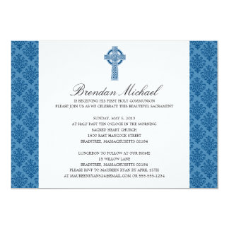 Damask Celtic Cross First Communion Card