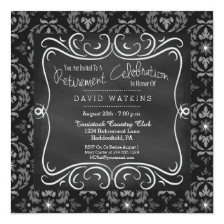Damask & Chalkboard Retirement Party Invitation