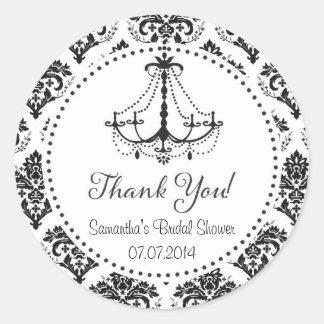 Damask Chandelier Bridal Shower Thank You Sticker