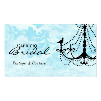 Damask Chandelier Business Card-Aqua 2