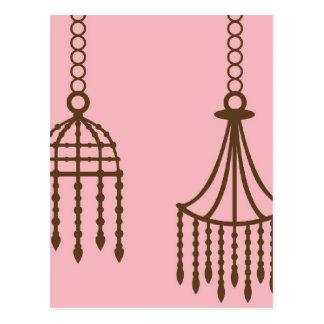 Damask chandelier wallpaper print pattern postcard