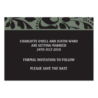 damask charcoal; save the date business cards