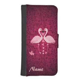 Damask chic romantic flamingos  monogram iPhone SE/5/5s wallet case