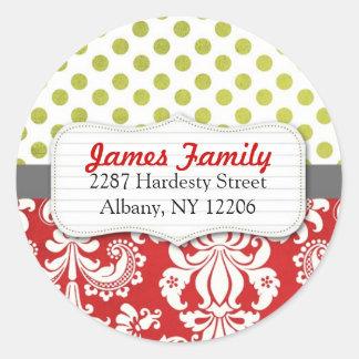 Damask Christmas Circle Address Label Round Sticker
