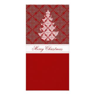Damask Christmas Tree Photo Cards