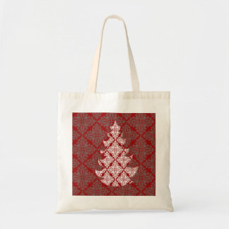 Damask Christmas Tree Tote Bag