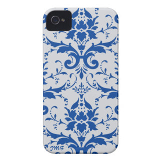 Damask: cobalt blue, light gray , custom initials iPhone 4 Case-Mate case