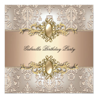 Damask Cream Coffee Birthday Party Pearl 13 Cm X 13 Cm Square Invitation Card