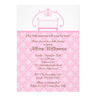 Damask Crib Girl Baby Shower Invitation