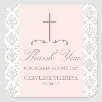 Damask Cross First Communion Square Sticker