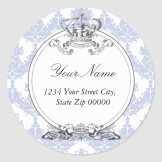 Damask Crown Address Sticker <Lavender>