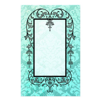 Damask Cut Velvet, Embossed Satin in Mint Green Stationery