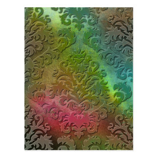 Damask Cut Velvet, Satin Abstract in Teal & Pink Postcard