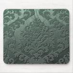 Damask Cut Velvet, Swank Swirls in Sage Green Mousepad