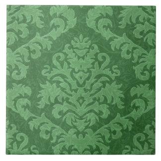 Damask Cut Velvet, Tapestry in Shades of Green Tile