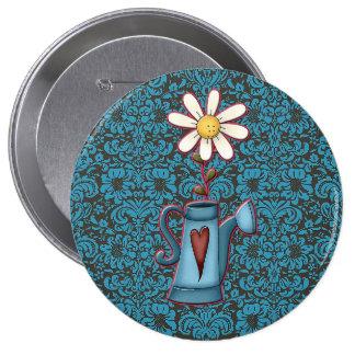 Damask daisy heart round button