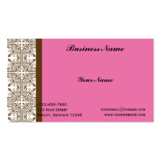 Damask Delight in Brown and Pink Business Card