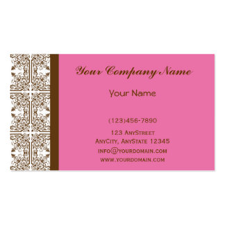 Damask Delight in Floral Pink and Brown Pack Of Standard Business Cards