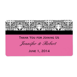 Damask Delight in Floral Pink Water Bottle Label Shipping Label