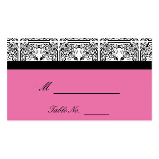 Damask Delight in Floral Pink Wedding Place Cards Business Card Template