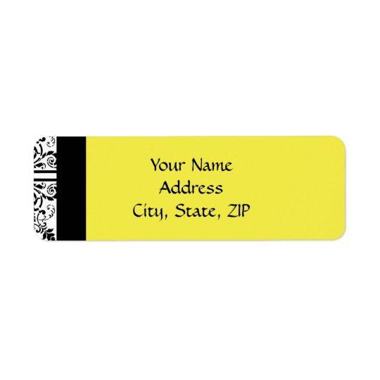 Damask Delight in Lemon Yellow and Black Return Address Label