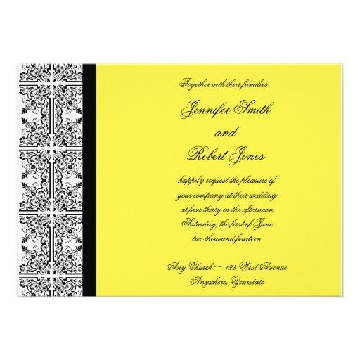 Damask Delight in Lemon Yellow Invitation