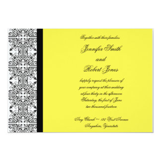 "Damask Delight in Lemon Yellow Invitation 5"" X 7"" Invitation Card"