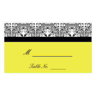 Damask Delight in Lemon Yellow Wedding Place Cards Business Card Templates
