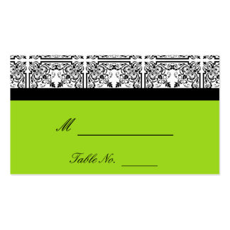 Damask Delight in Lime Green Wedding Place Cards Business Cards