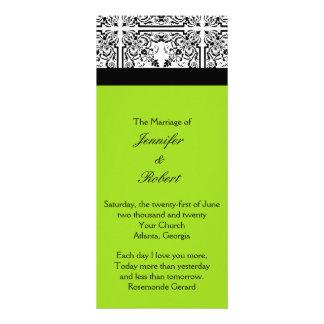 Damask Delight in Lime Green Wedding Program Customised Rack Card