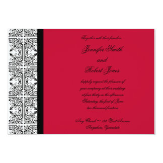 Damask Delight in Scarlet Red Wedding Invitation