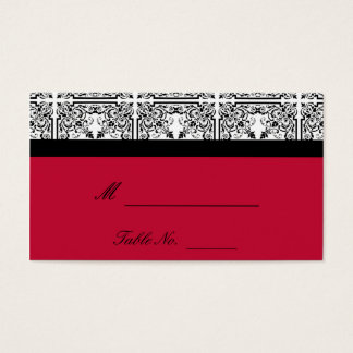 Damask Delight in Scarlet Red Wedding Place Cards