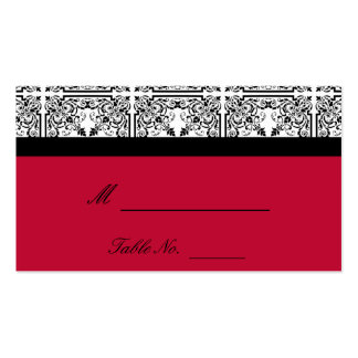 Damask Delight in Scarlet Red Wedding Place Cards Business Card