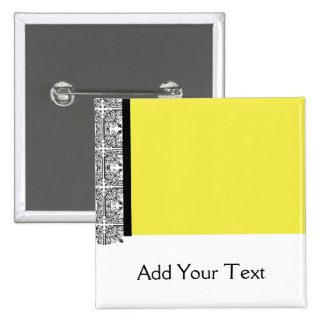 Damask Delight in Yellow 15 Cm Square Badge