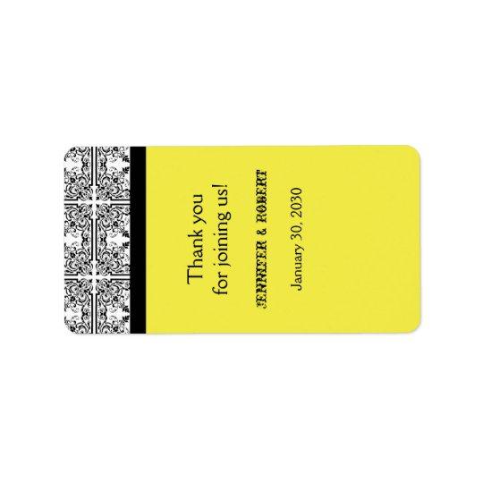 Damask Delight Lemon Yellow Wedding Lip Balm Label