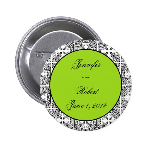 Damask Delight Lime Green Pin
