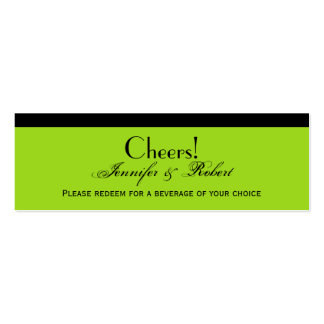 Damask Delight Lime Green Wedding Drink Ticket Business Card Templates