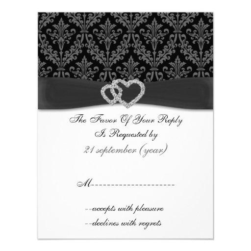 damask diamante charcoal wedding RSVP Custom Invites