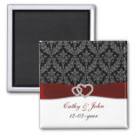 damask diamante red save the date square magnet