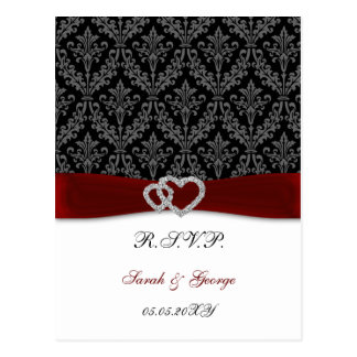 damask diamante red wedding RSVP Postcard